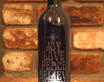 Lantern Winebottle - Cobalt Blue (Stand & Candle Included), Joy, Peace, Hope, Holiday Decor, Wine Bottle Candle Centerpiece, Upcycle B-BL