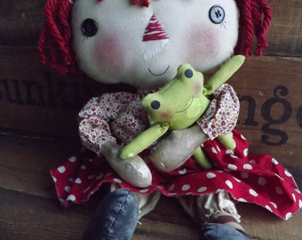 Primitive Rag Doll Frog Rag Doll Primitive Raggedy Polka Dot Dress Doll Home Decor