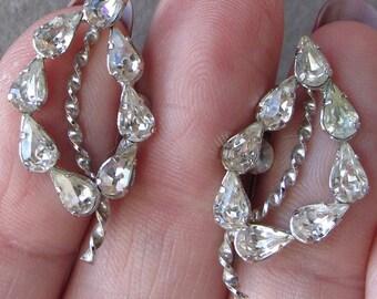 Sparkling Vintage Sterling Silver 1950's Rock Crystal Rhinestone Off Center Leaf Earrings