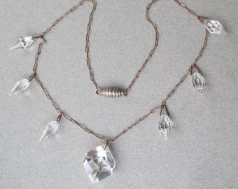 1930's Vintage Art Deco Cut Glass Crystal Briolette Dangles Paperclip Chain Flapper Necklace