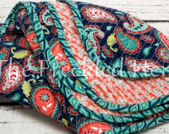 Baby quilts handmade faux chenille quilt baby girl blanket floral paisley soft la vie boheme navy coral turquoise aqua olive free ship