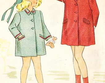 Simplicity 4598 Girl's Vintage 1940s Easy to Make Box Coat Sewing Pattern