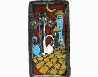 San Marino Pottery | Wall plate - Mid Century | Cats - Italy ceramic