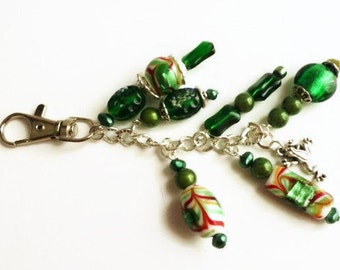 Green key chain charms, handbag charms, rear view mirror charms, clip on charms, detachable key ring, purse jewelry, keychains for women