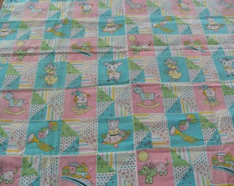 Vtg Juvenile/Baby Cotton Material Fabric Novelty~Pink/Blue~Humpty Dumpty 2 Yards