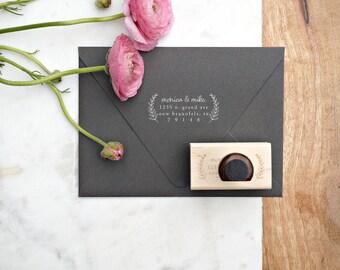 Wedding Address Stamp – Floral Invitation Stamp – RSVP Envelope Stamp – Wood Handle Address Stamp – Self Inking Address Stamp