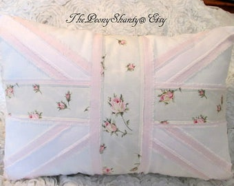 Union JACK Pillow, LAST ONE, Retired Pink Roses Pillow, Shabby Roses Pillow, Union Jack, Pink Roses Pillow, Roses Decor, Sweet!!!!