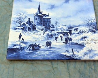 Mosa Delft Tile - Christmas 1843, Castle in Winter- Hand Painted - Rare, Stunning!