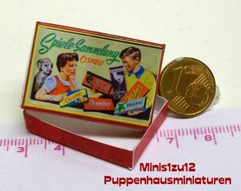 "3101# Toy box ""Spielesammlung"" - Doll house miniature in scale 1/12"