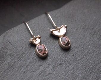 Asymmetric silver earrings with pink gemstones, Rhodochrosite earrings, Silver geometric earrings, Minimalist earrings