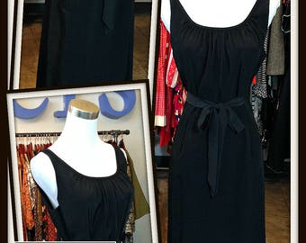Vintage Black Dress with Pockets FREE SHIPPING