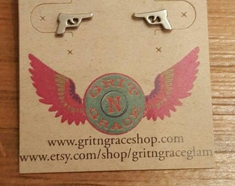 Pistol post earrings, country girl jewelry, cowgirl, gifts under 10