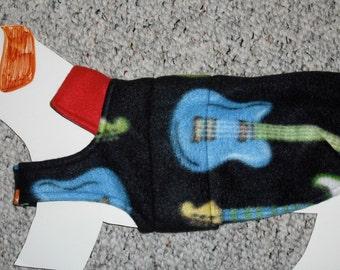 "Reversible Fleece Dog Coat—Beatles & Guitars—Mini Dachshund Doxie Chiweenie (xs, long 8-12 lb) *girth 17.5"""