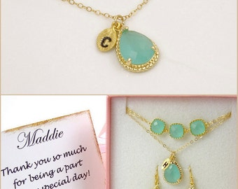 Mint Green Necklace Personalized Gold Necklace Bridesmaid Gift for Women Wedding Anniversary Gifts for Her Graduation Gifts for Sister