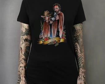 The Walking Dead Rick and Carl Grimes Tattoo Art T-shirt Horror Zombie