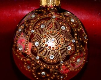 Red Glass Ornament with Golden Design, Hand Painted Ornament