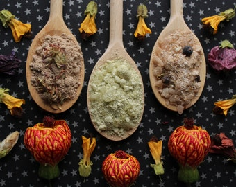 bath soaks / coconut milk, dead sea salt & herbs: pick your poison