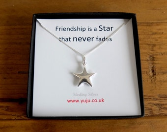 Silver Star Necklace with Quote, Little Star Necklace, Personalised Quote Gift, Friend Keepsake, Friendship Gift, Friendship Keepsake