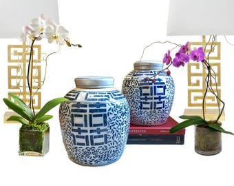Vintage Blue and White Ginger Jar PAIR Porcelain Chinoiserie Decor Double Happiness Jar Set Asian Decor Hollywood Regency Console Display