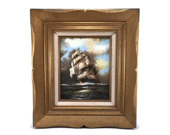 Vintage Original Clipper Ship Oil Painting - Framed Signed J James - Canvas Ocean Beach House Nautical Art - Mid Century - Victorian Sailing