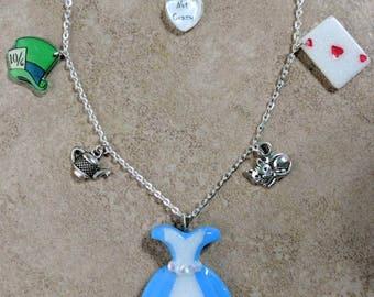 Original Alice in Wonderland inspired charm necklace