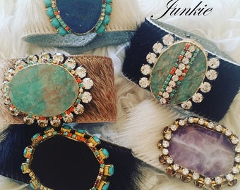 The Vintage Junkie...Agate and Druzy Cowhide Cuffs with Vintage Rhinestones. Your pick!