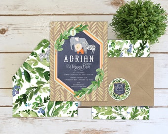 zoo animals invitation - first birthday invitation - safari invitation - zoo invitation - jungle invitation - freshmint paperie