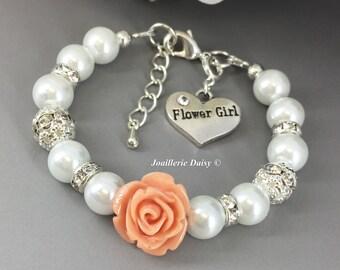 Light Peach Flower Bracelet, Flower Girl Jewelry, Flower Girl Bracelet, Gift for Flower Girl, Peach, Coral, Gift under 15, Wedding Jewelry