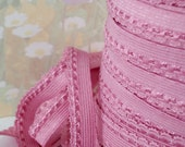 "5yds Stretch Lingerie Trim Picot Skinny Elastic Rick Rack 3/8"" inch Mauve Pink Sewing Single sided Edging Headband Elastic by the 5 yard"