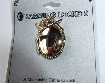 """Gold Tone Guardian Angels Locket Pin """"A Memorable Gift to Cherish... A Secret Place For Your Special Treasure"""" by Charming Lockets"""