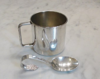 Vintage Silver Plated Baby Cup and Spoon / 1881 Rogers Cup / King Edward Silver Plated Spoon
