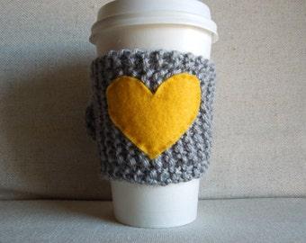 Yellow Heart Coffee Cozy, Mug Sweater, Coffee Sleeve, Mug Cozy