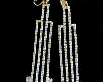 Art Deco Clear Rhinestone Earrings, Signed ART DECO 89, Long Dangles, Rare Vintage