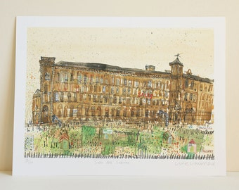 SALTS MILL PRINT, Saltaire Watercolour, Yorkshire Painting, Signed Limited Edition Art Giclee Print, Pencil Drawing Sketch, Clare Caulfield
