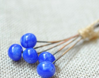 Blue Glass HeadPins 5 psc Beads - Wire Antique