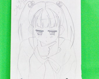 Original Signed Anime Art By April - Pencil Sketch, 9 X 12