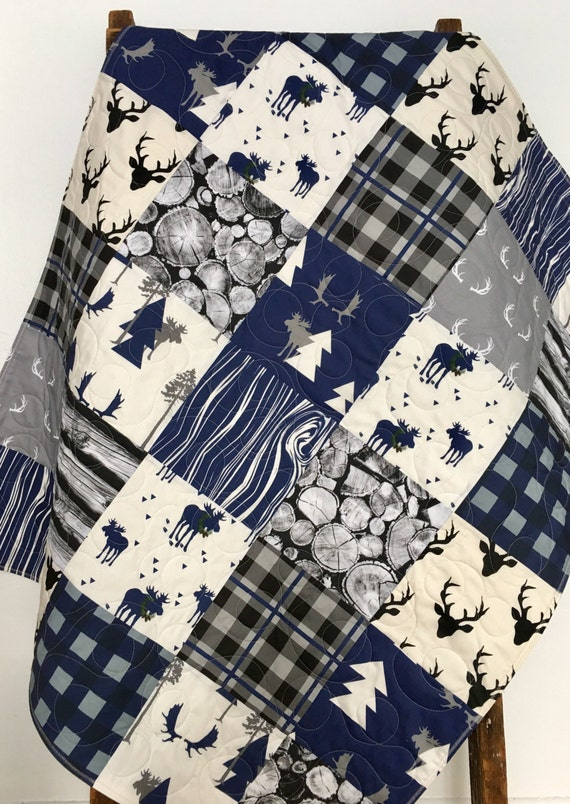 Baby Quilt Boy Buffalo Plaid Navy Lumberjack Baby By Coolspool