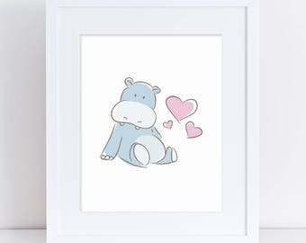 Baby Hippo Art Printable, Baby Blue Hippo, Hippo Art, Hippo Nursery Art, Hippo Kids Art, Blue and Pink Nursery Decor, Baby Shower Gift, Baby