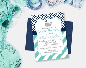 Blue Whale Baby Shower Invitation, Stripes and Polkadots, Boy Whale Shower, Whale Invite, Printable Invitation, PDF, JPG, Digital