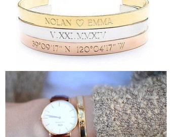 GOLD COORDINATE bracelet - coordinates cuff - location bracelet - GPS cuff - coordinates bracelet - personalized bracelet - custom