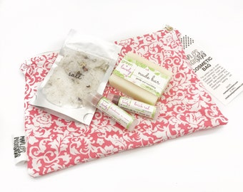 Cosmetic Soap Lip Set, Naturally Tinted Lip Balms, Cold Process Soap, Himalayan Rose Bath Salts, Cosmetic Bag Gift Set