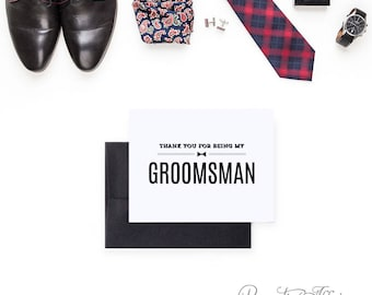 Thank You for Being My Groomsman Card - To My Best Man, Ring Bearer, Usher - Masculine, Simple, Minimal Cards - Bow Tie - Groomsmen Cards