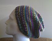 Stripe slouch beanie hat  green blue pink yellow cream brown