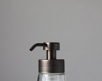 Small Glass Foaming Soap Dispenser with Antique Bronze Metal Pump