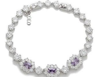 Jackie Kennedy Bracelet - Rhodium Plated with Tanzanite Stones, Box and Certificate - Sz 7 or 8