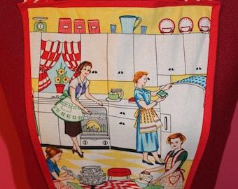 Woman's vintage style apron red polka dot