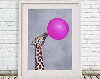 Giraffe illustration, giraffe motif, giraffe design, giraffe portrait painting mixed media digital print,  Giraffe drawing, giraffe print