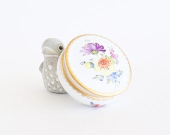 NYMPHENBURG Dresden Flowers Hand Painted Porcelain Trinket Jewelry Box