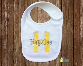 Monogrammed Baby Bib, Personalized Baby Bib, Appliqué Bib, Baby Gift, Baby Name Bib, Baby Shower Gift, Baby Bib with Name and Appliqué
