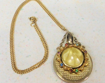Faux Pearl Rhinestone Vintage Vial Perfume Holy Water Pendant Necklace Faux Mother of Pearl 1960's Costume Jewelry